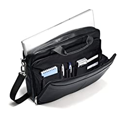 Samsonite Luggage Leather Slim Briefcase, Black, 16 Inch