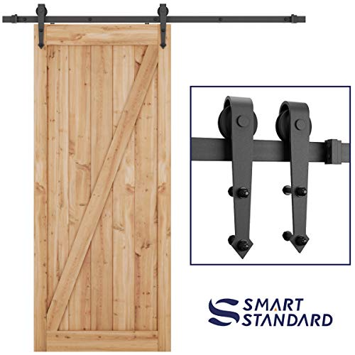 "SMARTSTANDARD 6.6 FT Heavy Duty Sliding Barn Door Hardware Kit, Single Rail, Black, Super Smoothly and Quietly, Simple and Easy to Install, Fit 36""-40"" Wide DoorPanel (Arrow Shape Hangers)"