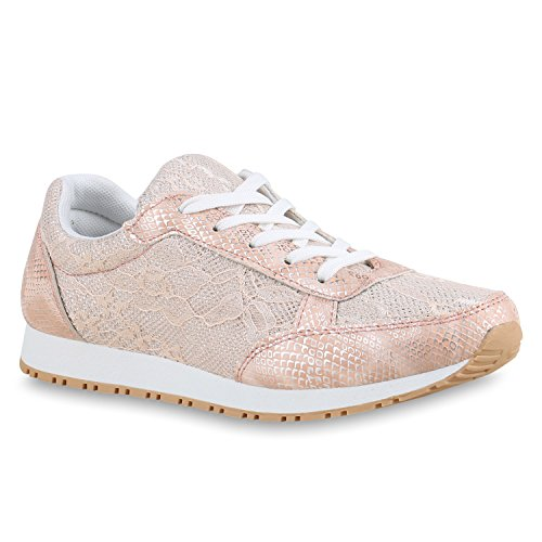 Damen Glamour Sportschuhe Runners Metallic Lack Sneakers Laufschuhe Flandell Rosa Spitze