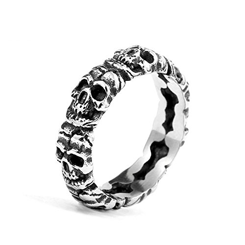 (ZMY Mens Fashion Jewelry Rings, 316L Stainless Steel Punk Skull Circle Ring for Men (9))