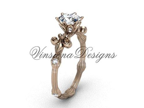 14kt rose gold diamond leaf and vine, Fleur de Lis engagement ring VD20838