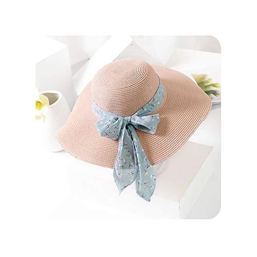 New Summer Female Sun Hat Bow Ribbon Beach Hats for Women Floppy Straw Hat,Pink