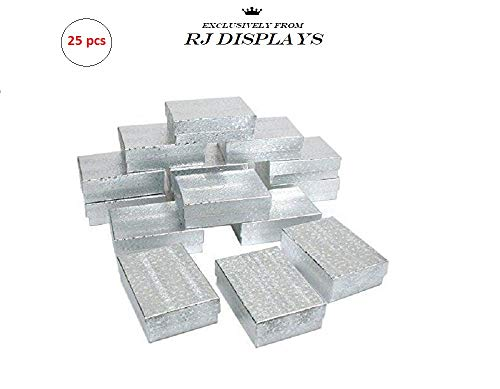 Charm Silver Jewelry Pendant Boxes (RJ Displays- 25 Pack Cotton Filled Silver Linen Jewelry Box for Pendant, Charm, Bracelet, Anklet, Ring, Earring, Necklace Chain Jewelry and Small Gift 2 5/8