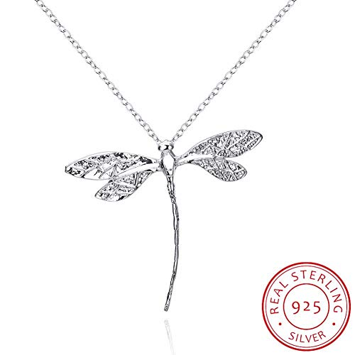 925 Sterling Silver Necklace Double Dragonfly Crystal Pendant Necklace for Women Girl Female Fine Jewelry Wedding Gift