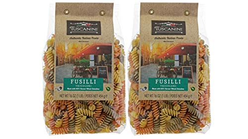 (Tuscanini Gourmet Italian Fusilli Tri Color Pasta, 2 Pack (16oz) Made in Italy)