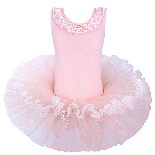 BAOHULU Leotards for Girls Ballet Dance Tutu Skirted Princess Dress 3-8 Years B094_Peach-L