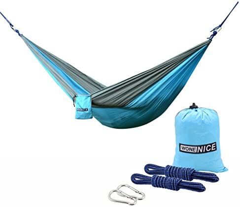 WoneNice Camping Hammock – Portable Lightweight Double Nylon Hammock, Best Parachute Hammock with 2 x Hanging Straps for Backpacking, Camping, Travel, Beach, Yard and Garden