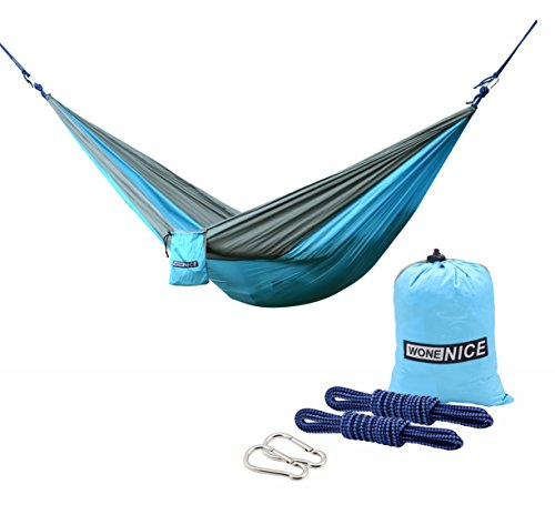 Parachute Nylon Travel Hammock - WoneNice Camping Hammock - Portable Lightweight Double Nylon Hammock, Best Parachute Hammock with 2 x Hanging Straps for Backpacking, Camping, Travel, Beach, Yard and Garden (Sky Blue/Gray)