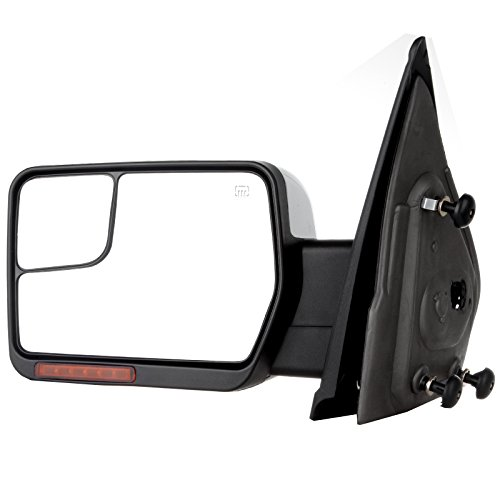 SCITOO fit Ford Towing Mirrors Chrome Rear View Mirrors fit 2004-2014 Ford F-150 Truck with Mirror Glass Power Control Heated Turn Signal and Puddle Lamp Features-Driver Side