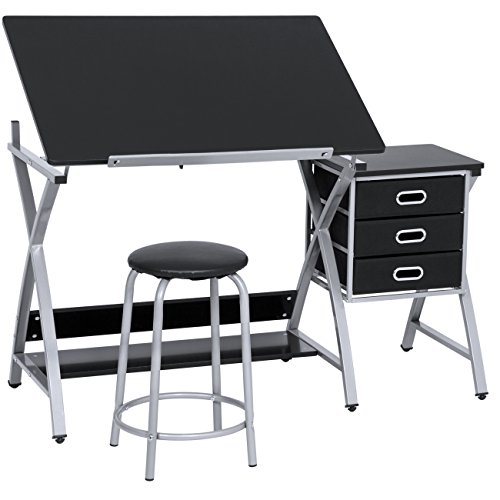 Best Choice Products Adjustable Office Drawing Desk Station Drafting Table Set w/Stool Chair - Silver/Black ()