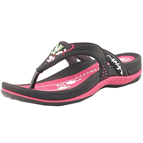 Gold Pigeon Shoes GP Signature Flip Flops for Women: 7532 Black Fuchsia, EU39 (US Size 8-8.5)