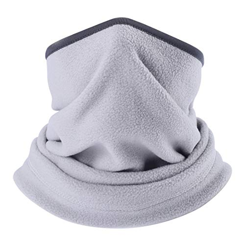 WTACTFUL Polar Fleece Neck Warmer Neck Gaiter Tubular Face Mask Protection Wind, Dust, Sun UV for Skiing Snowboarding Hunting Cycling Running Fishing Hiking Outdoor Winter Cold Weather Light Gray