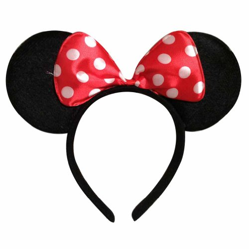 [Disney Minnie Mouse Costume Ears Baby Infant Toddler Headband White Dots Red Bow] (Infant Red Minnie My First Disney Costumes)