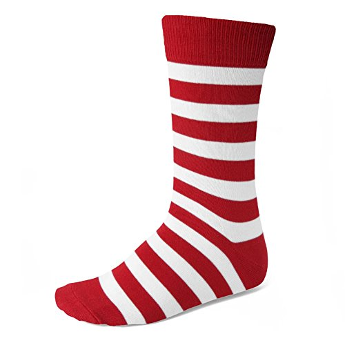Men's Red and White Striped Socks