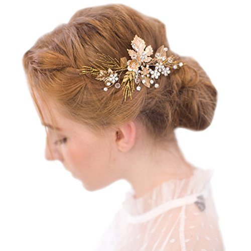 FAYBOX Vintage Gold Twig Hair Clips Bridal Headpiece Wedding Accessories