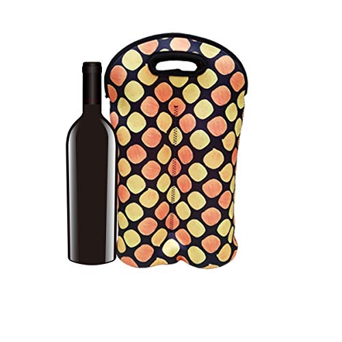 QAZSE Wine Tote Bag 2-Bottle Carrier Neoprene Reusable Thicken Durable Insulated Champagne Bottle Gift Bags for Travel, Party, Picnic, Orange Dots