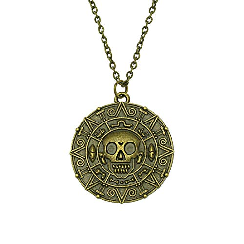 (Steampunk - Skull Pirate Coin Necklace - Pirates Of The Caribbean - Pendant - Fantasy)