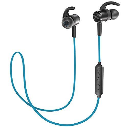 TaoTronics Bluetooth Headphones V4.2 Sport Earphones with 9 Hours Playtime CVC 6.0 Noise Cancelling Mic (Blue)