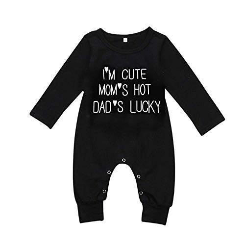 SWNONE Newborn Infant Baby Boy Girl Long Sleeve Bodysuit Romper Jumpsuit Outfits Funny Letter Printed Black Onesie (Black, 9-12 m) (Lucky Long Sleeve Pullover)