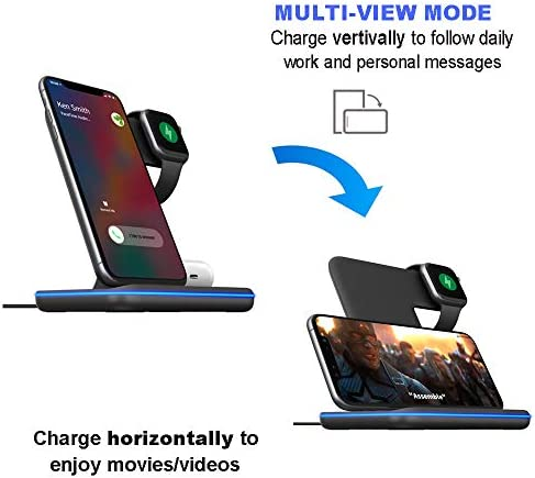 Any Warphone 3 in 1 Wireless Charging Stand for Latest Airpods iPhone and iWatch, Compatible for iPhone 11 Pro Max/X/XS Max/8 Apple Watch Charger 5/4/ 3/2 /1 Airpods 2/3 41M9fI H0bL