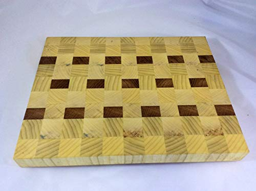 End Grain Cutting Board of Hackberry and Walnut Hardwood #A67