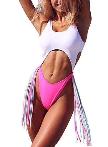 ALLureLove Swimsuits Bathing Suits Women Sexy Monokini Cut Out Bikini One Piece Cheeky Swimwear (Large, Pink, Teal, White) ()