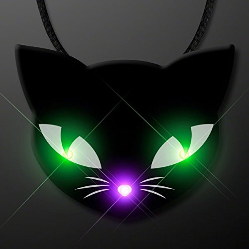 blinkee Black Kitty Cat Glowing Green Spooky Halloween Eyes Flashing Blinky Light Necklace by