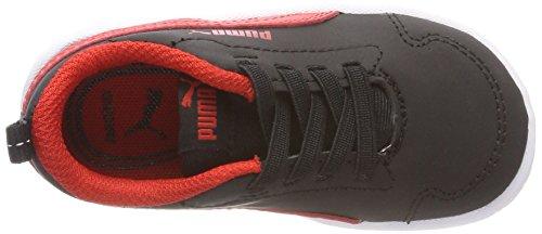 Puma Unisex-Kinder Courtflex Inf Sneaker Schwarz (Puma Black-Flame Scarlet)