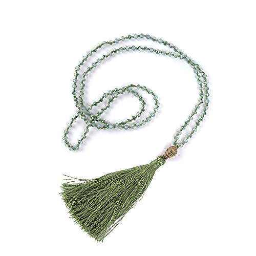 VEINTI+1 Bohemia Crystal Glass Beads Golden Buddha Head Tassels Long Sweater Chain Women's Necklace (L-Light Green)