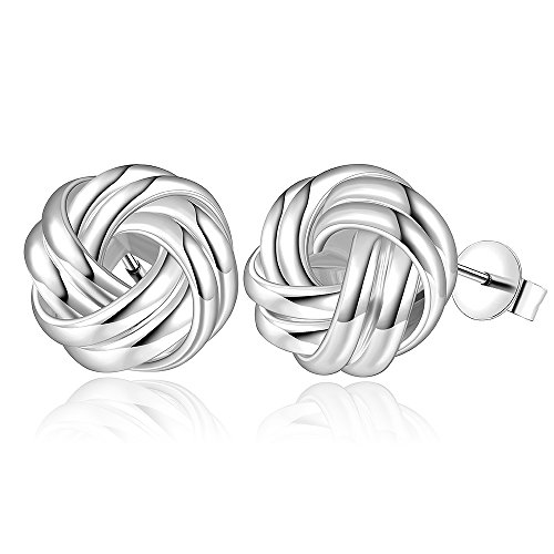 YEAHJOY Silver Plated Love-knot Shaped Post Earrings Austria Crystal Twist Stud Earrings (Shaped Silver Plated)