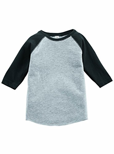 Rabbit Skins 100% Cotton Blank Toddler Baseball Jersey Tee [Size 3T] Vintage Heather Gray/ Vintage Smoke Gray Short Sleeve (Blank Toddler Shirts)