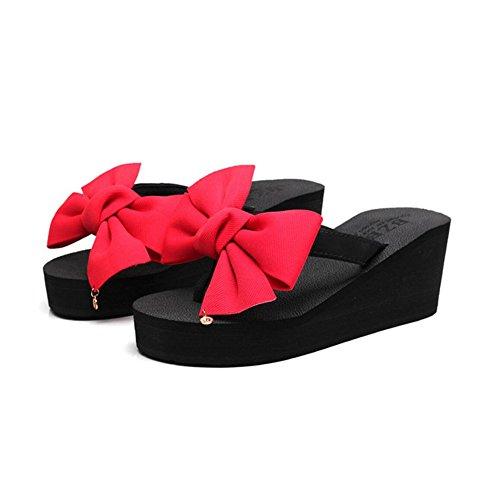 Moda Suola Dolci Tacchi Cunei Sandali Donne di delle Scarpe Red La Spessa Casual 39 E con Spiaggia Romani Estate da Infradito Shoes Arco Pantofole 66I7Zq