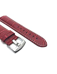 24mm Red Mens' Alligator Style Genuine Leather Watch Strap Band, With White Stitching
