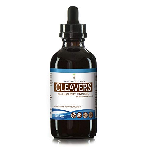 Cleavers Tincture Alcohol-Free Liquid Extract, Organic Cleavers (Galium aparine) Dried Herb (4 FL OZ)