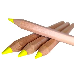 Eco Highlighter Pencils - Set of 4 YELLOW - Will Not Bleed or Dry Out - Great for Left Handed Does not Smudge