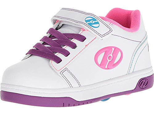 Heelys Girls' Dual UP X2 Tennis Shoe, White/Purple/neon Multi, 2 M US Little Kid