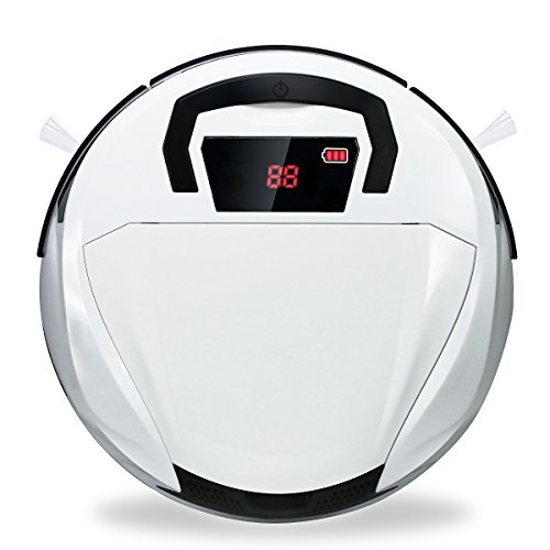 Vacuum Cleaning Robot Automatic Robotic Vacuum Cleaner High Suction Cleaning for Hard Floor and Low Carpets (black-white)