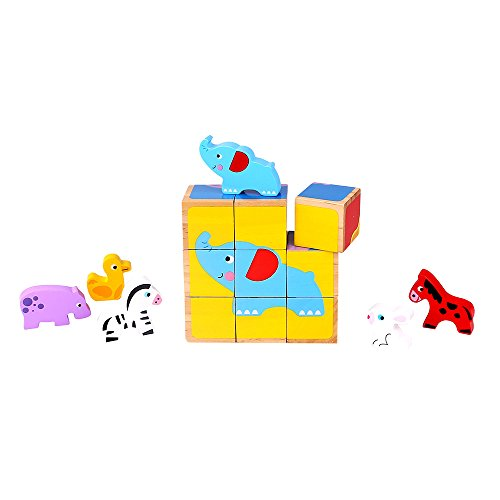 Fat Brain Toys Block Puzzle and Animals - Six-in-One Animal Friends Cube Puzzle Imaginative Play for Babies