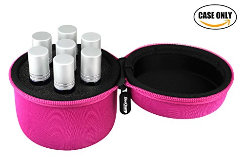 BeeChamp Best Essential Oil Roller Bottle Carrying Travel Case for 7pcs 10ml Bottles (Rose) (Pink Essential Lipstick)