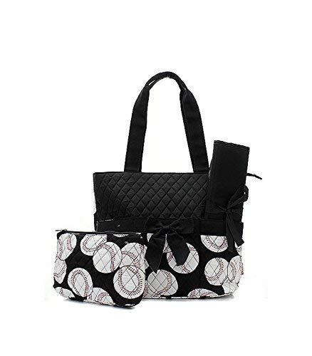 Quilted 3 Piece Set - Quilted Diaper Bag 3-Piece Set, Baseball Black Trim By Quilted