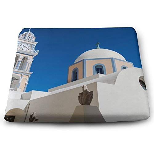 (Blue White Sky Santorini Greece Building Seat Cushion Pad Memory Foam Cushion for Office Desk Chair Car Seat, Large Breathable Chair Cushion Pads for Lower Back Tailbone Coccyx Hips)