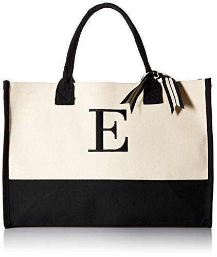 (Mud Pie E-Initial Canvas Tote )