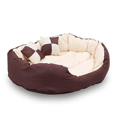 Reversible Bolster Beds - HappyCare Textiles Durable Bolster Sleeper Oval Pet Bed Removable Reversible Insert Cushion Additional Two Pillow, Medium 26 20 inches,Brown to Beige