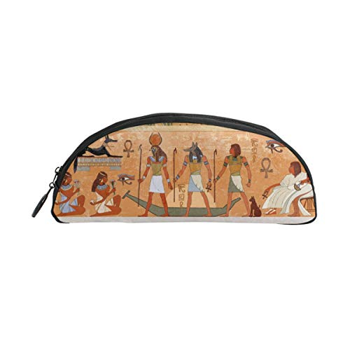 Mural Semi - WEEDKEYCAT Ancient Egyptian Murals Semicircle Travel Cosmetic Bag Pen Pencil Portable Toiletry Brush Storage,Multi-Function Makeup Carry Case with Zipper