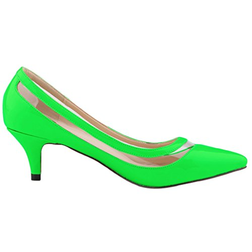 Pointu Femme Ouvertes Pointed Elégants Stiletto Heel Bout Toe Vernies Wanyang Chaussures Vert Pumps f1xqw81d