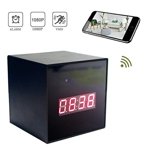 Seahon HD 1080P Alarm Clock Camera WiFi Camera Video Recorder Wireless IP Camera for Indoor Home Security Monitoring Nanny Cam 150°Angle Night Vision Motion Detection