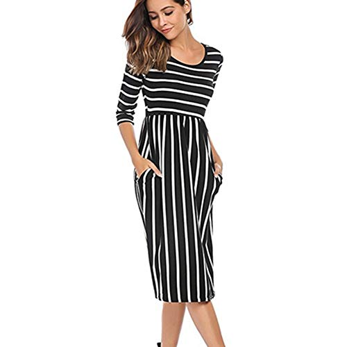 SoleMay Women's 3/4 Sleeve Scoop Neck Pockets Striped Pleated Loose Swing Casual Midi Dress Black M