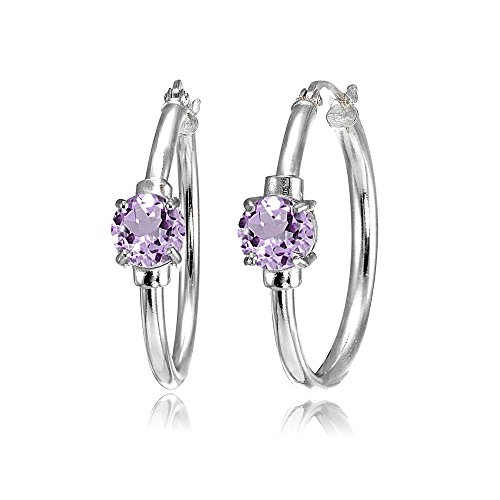Sterling Silver Amethyst Solitaire 25mm Hoop Earrings
