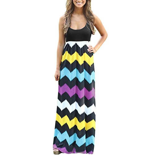 (Womens Tank Top Maxi Dresses, Summer Boho Printed Empire Chevron Sleeveless Casual Beach Dresses ❤️Sumeimiya)