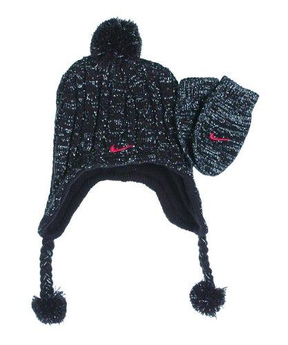 Nike Hat & Gloves 2 Piece Set - Black/silver & Pink (12/24m)